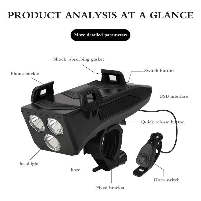 Nuovi 4 in 1 bicicletta del faro della bici bici del corno Telefono Banca di potere del supporto della bicicletta Phone Holder Per per Accessori