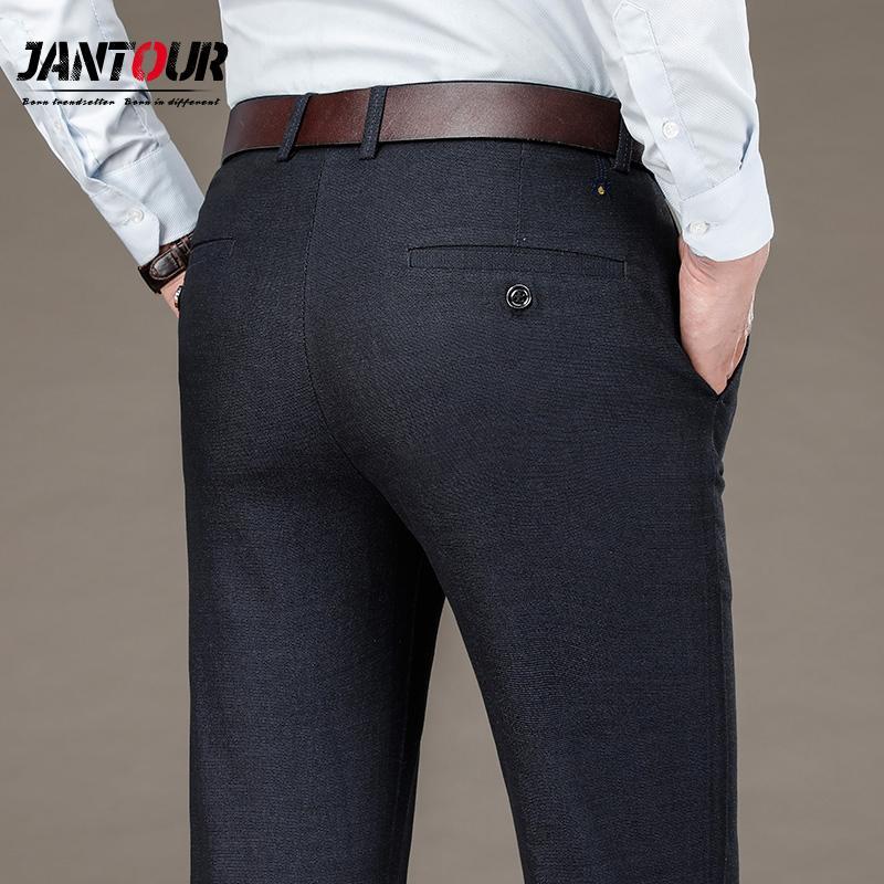 Compre 2020 Pantalones De Vestir De Moda Moda Elegante Para Hombre Pantalones De Color Solido Color Suelto Pantalones Largos Largos Masculinos Pantalon Formal Delgado Negro C1018 A 18 42 Del Make02 Dhgate Com