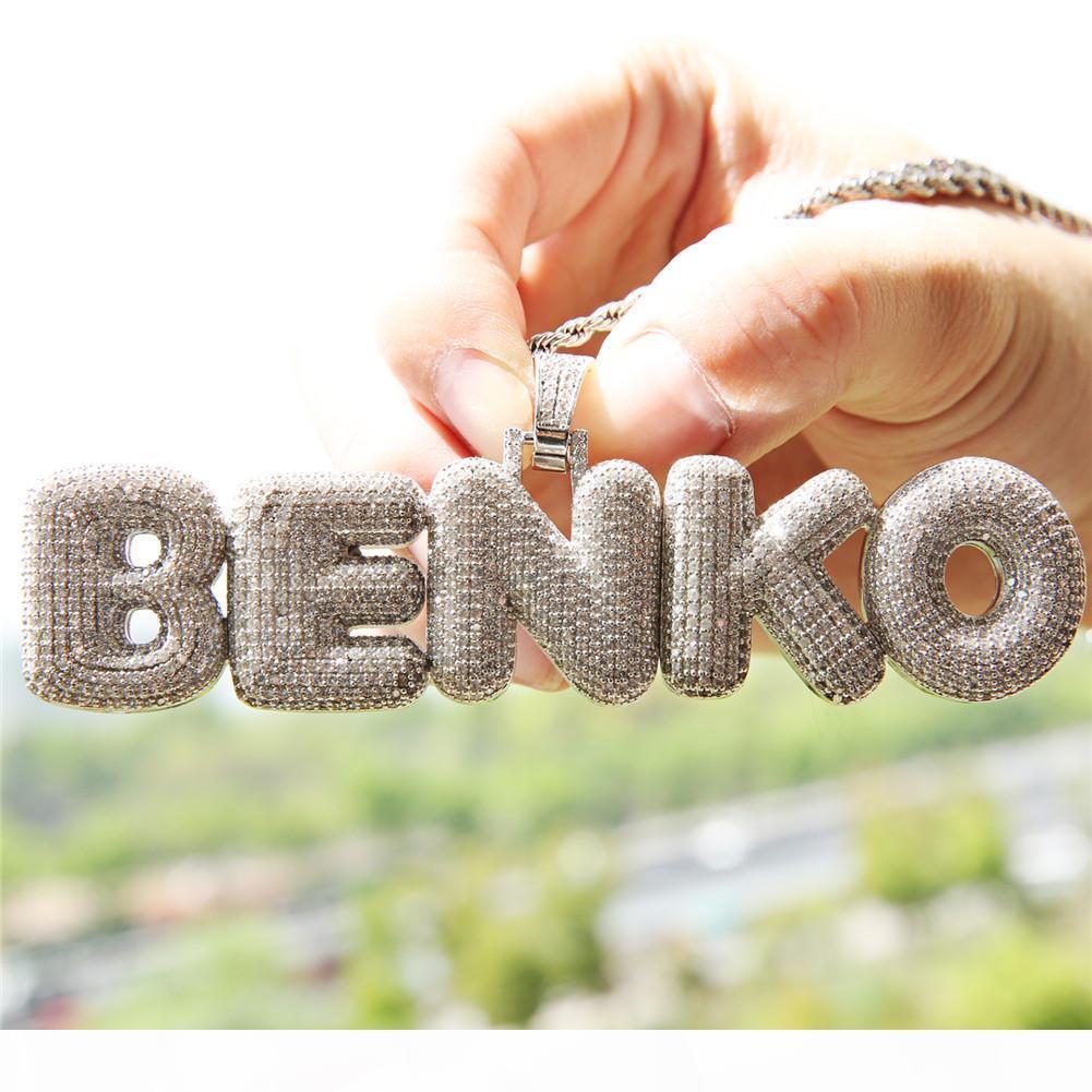 Collana Designer fuori ghiacciato CZ Cubic Zirconia Hip Hop Oro Nome personalizzato Combinazione Bubble catena pendente della lettera pieno di diamanti gioielli iniziale