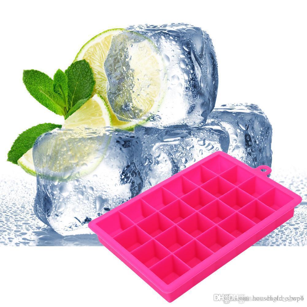 FAI DA TE Silicone Ice Cube Vassoio Stampo 15 Grandi Griglie Forma quadrata Forma di ghiaccio Frutta Ice Cube Maker Bar Cucina Accessori