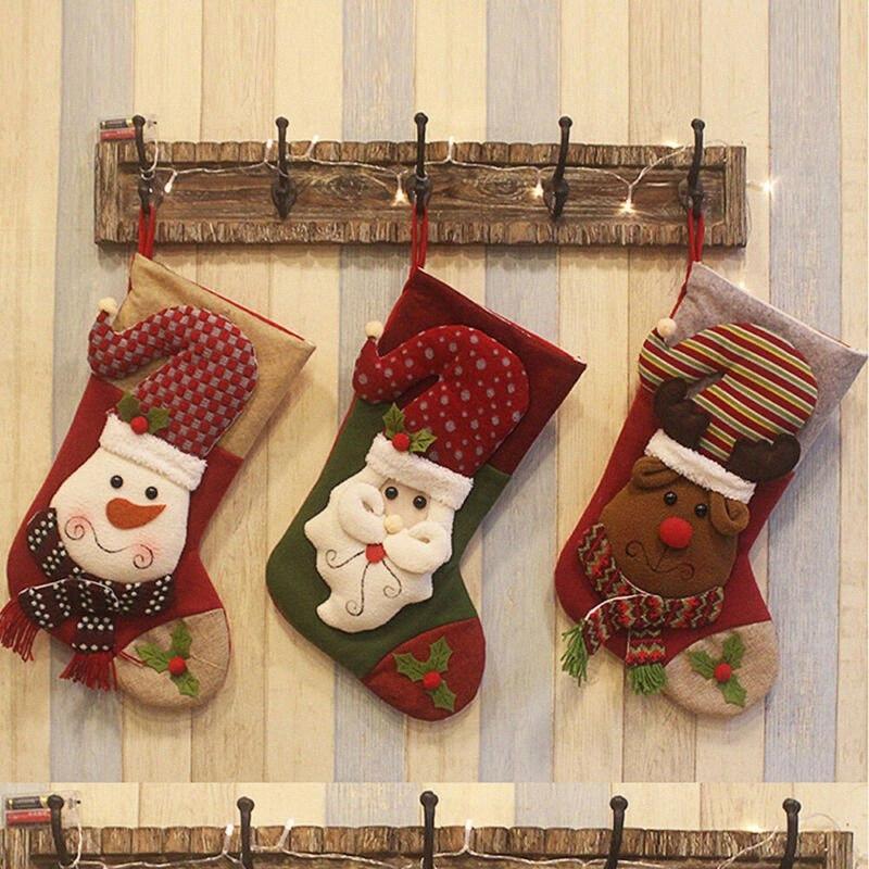 Большой рождественский чулок Санта-Клаус Носок плед Burlap подарков держатель украшения рождественской елки Новогодний подарок конфеты сумки I3lA #