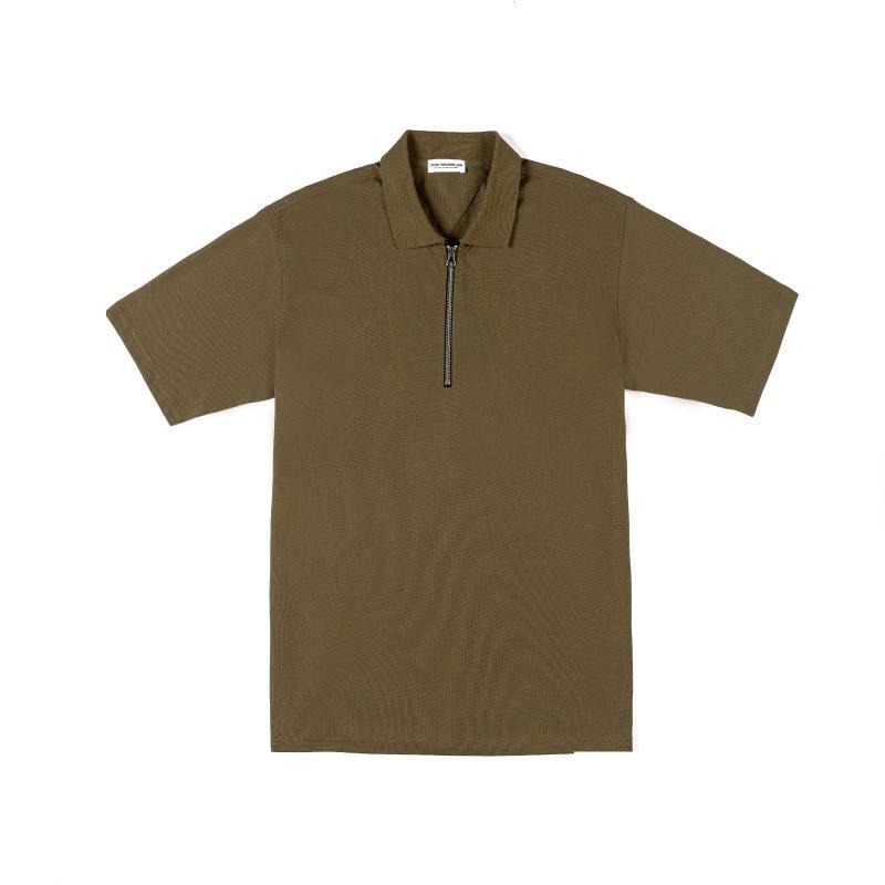 Camicia da uomo Polos Black Metal Black Metal Fibbia Stampa in cotone Collo rotondo Nero Army Green Metallo Zip Polo Camicia