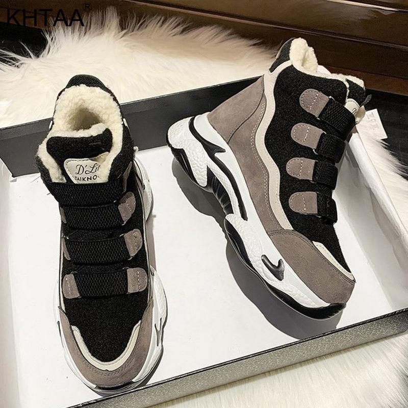 Winter Women's Sneakers Thick Platform Fashion Casual Ankle Boots Shoes Woman Plush Warm Footwear Women Hook Loop Female Shoes LJ201201