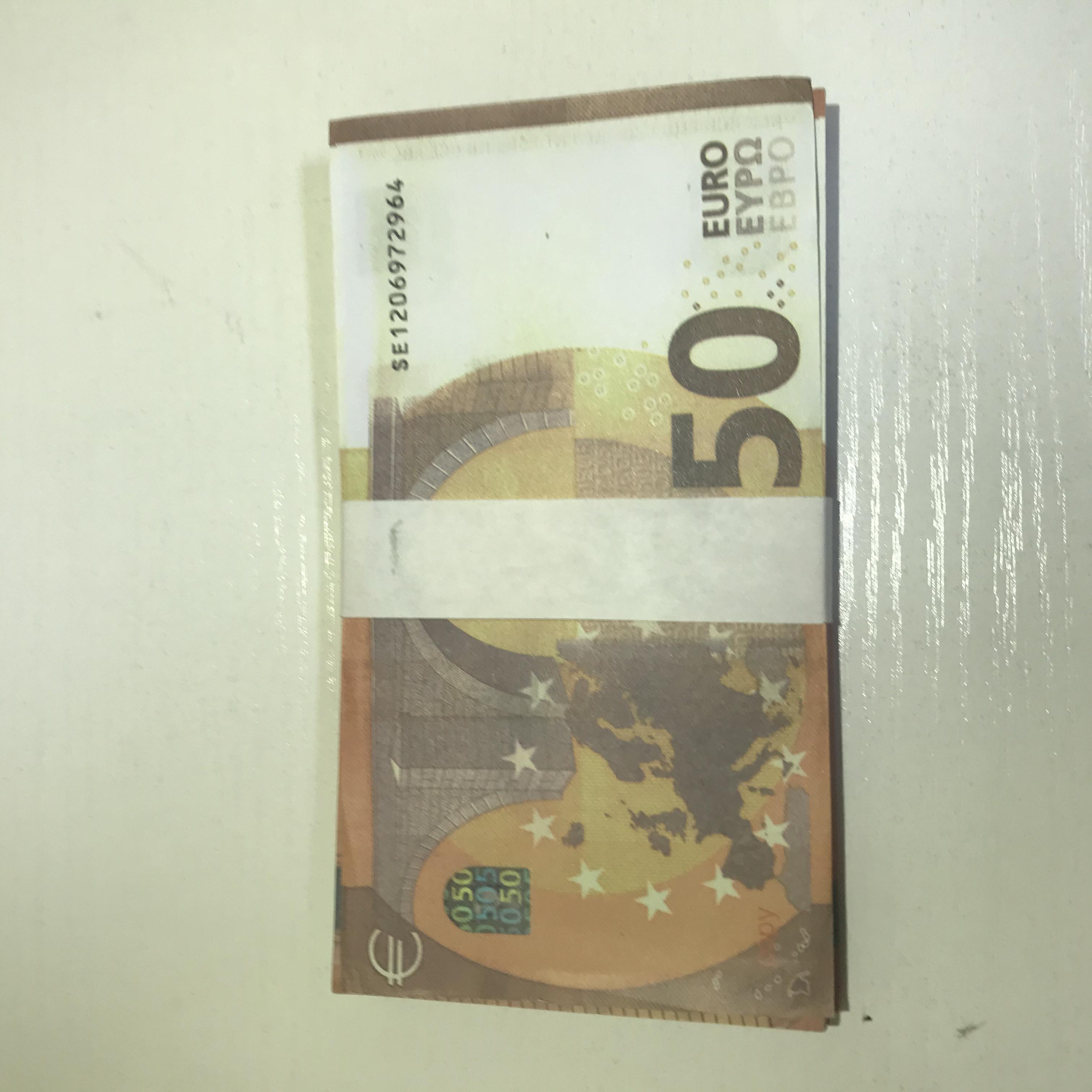 Atmósfera Bar Copia Euro 50 Billete de billetes Paramación falsificada PROPORTE LE50-42 Etapa de juguete Falsifit MV PROP HOT TGNCS GSGLD