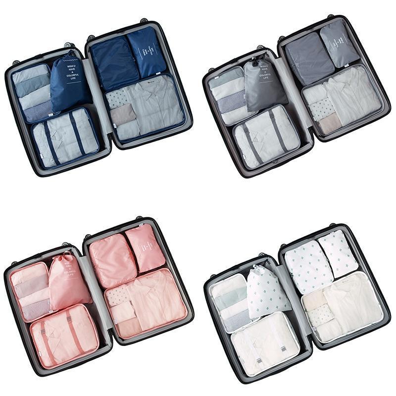 7Pcs / Set High-Grade Valigia Organizzatore scarpe Organizzatore set di valigie lavanderia Custodie imballaggio Set da Viaggio Storage Bag