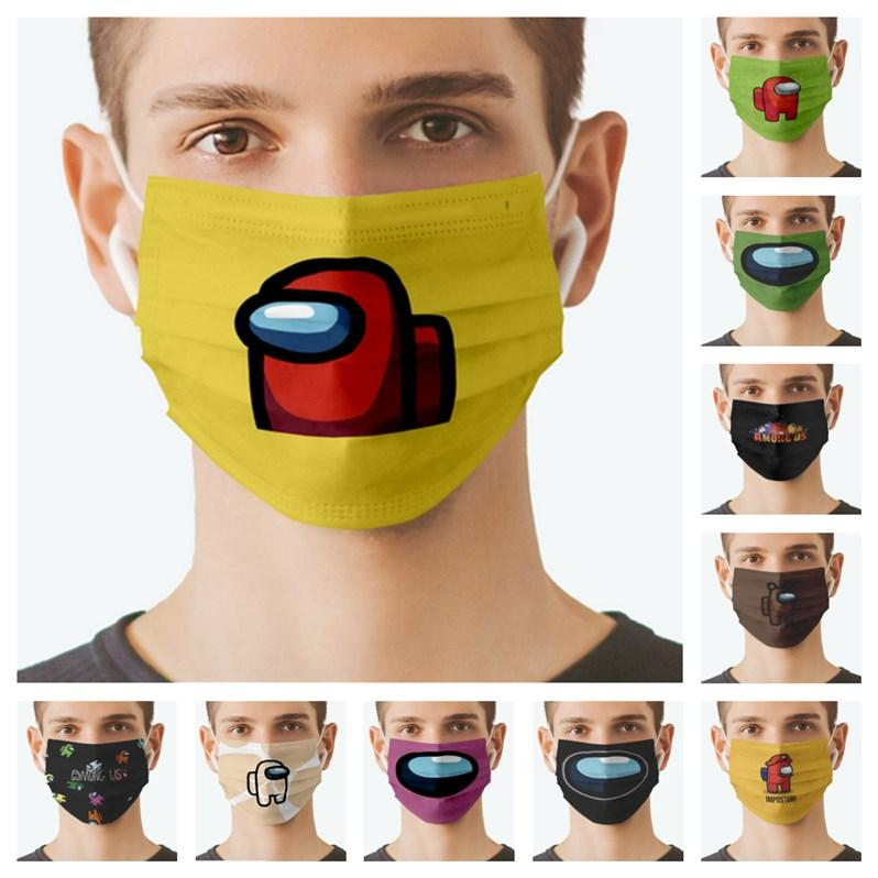 Среди нас игра одноразовые маски для лица мультфильм дизайнерские маски моющиеся рта, покрывающие защитные унисекс Взрослые нетканые маски нетканые ракушки E122409