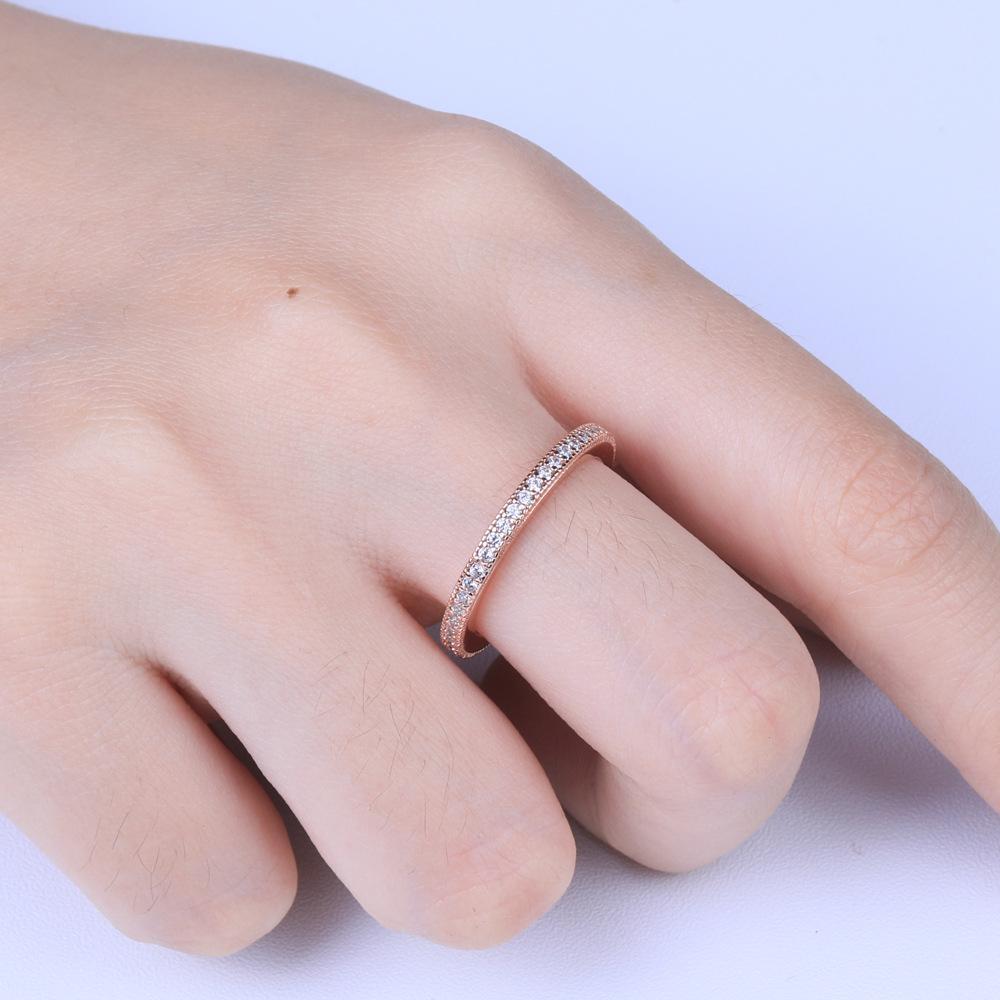 Moda Tonglin S925 Ayar Gümüş Mikro-Kakma Zirkon Yüzük Kadın E-Commerce Endeksi Parmak Yüzük Tüm Vücut Gümüş Yüzük Süsleme Toptan