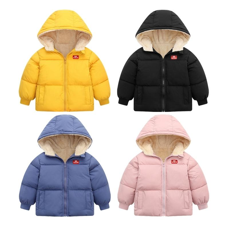 Зимние мальчики с капюшоном Куртки с капюшоном Пальто девушки Утолщение теплой куртка детская верхняя одежда мода детей вниз хлопковая куртка для детей пальто 201102