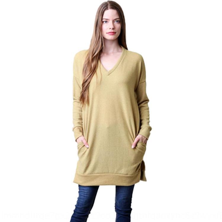 invierno nuevo paquete packageautumn 2020 de las mujeres de manga larga con cuello en V inferior nueva camiseta 2020 de las mujeres del paquete inferior inferior invierno lo packageautumn