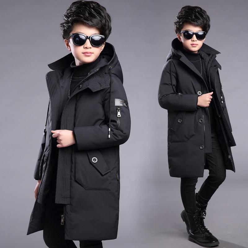 Kinder Winter Warme Daunenjacken Für Jungen Parka Teenager Kinder Parkas Lange Kapuze Mantel Kleidung Kleidung Schneeanzug Mantel 201118