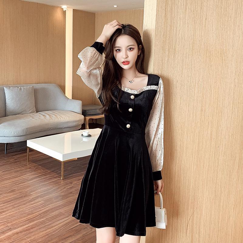 Coigarsam Kadınlar Tek Parça Elbise Kore Vintage Kare Yaka Elbiseler Siyah 176