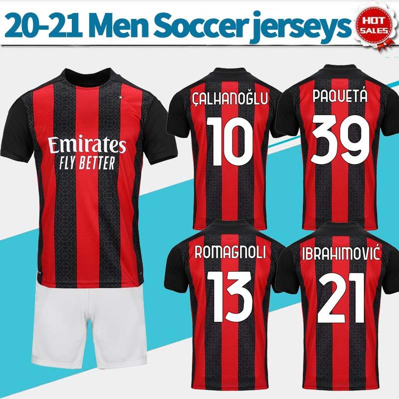 NCAA 2021 homens kit # 21 Ibrahimovic futebol jerseys casa vermelho preto 20/21 adulto camisas de futebol romagnoli calhanoglu uniformes de futebol com shorts
