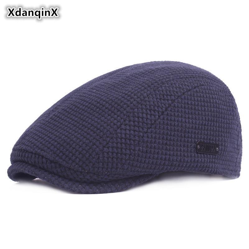 XdanqinX Мужская зима теплая Hat Простые моды береты Толстые Женщины Хлопок язычка Snapback Cap Регулируемый размер Пара Спортивные шапки