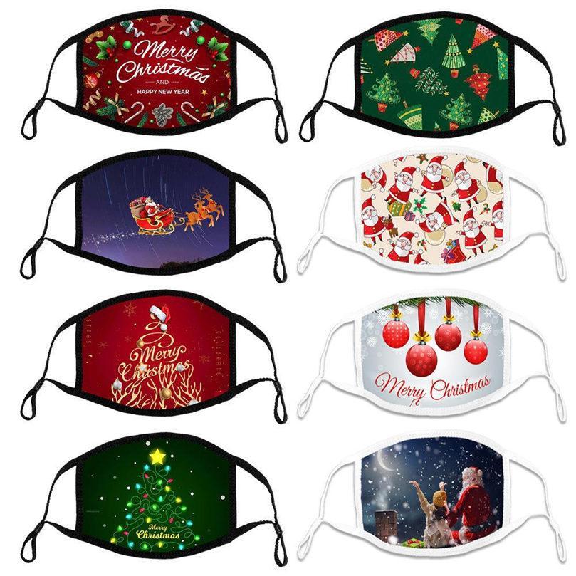 빠른 배송 크리스마스 마스크면 조정 귀 로프 성인 자녀 천 통기성 부드러운 패턴 처리 디자이너 마스크 얼굴 마스크