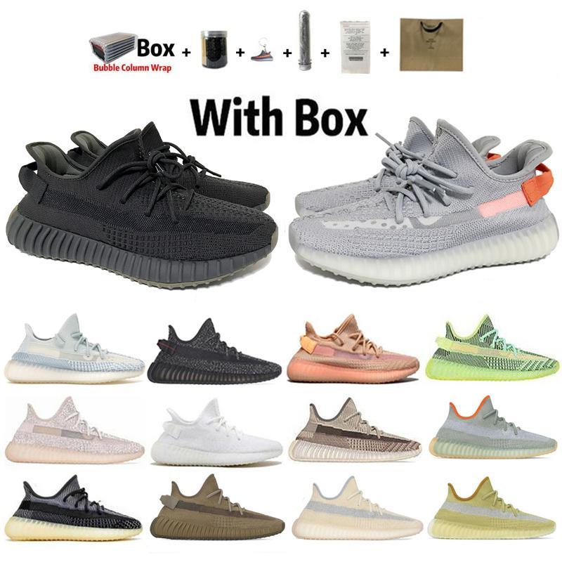 Kanye West V2 Chaussures de course de qualité supérieure Noir réfléchissant Cinder Feu arrière Terre Yeezreel statique Hommes Femmes Sport Chaussures 36-48 dresseur