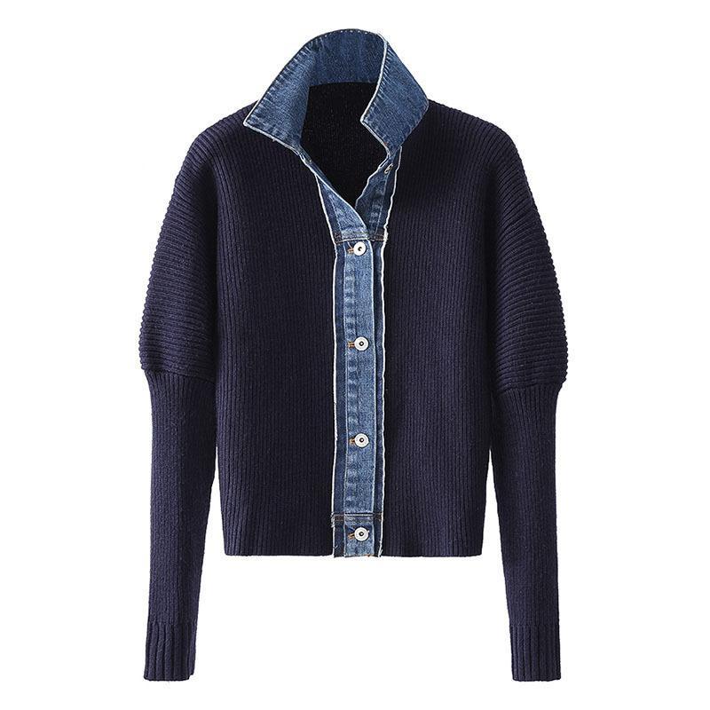 2021 новый ковбой кардиган женский свитер осенью ткани демин измельченный вязаный поворотный куртка Q7KP