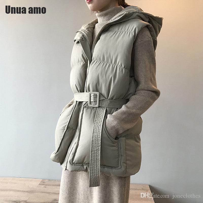 UnUA AMO Winter Weste Mantel Frauen Kapuze Warm Parka 2020 Mode Schärpen Slim Ärmellose Baumwolle Gepolsterte Westejacke Baumwolle