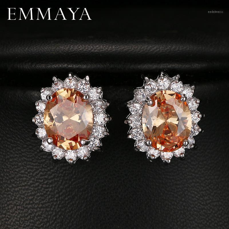 Stud Emmaya Fashion Oval Zircon Orecchini per le donne Regalo presente Blue Crystal Bijoux Girls 5 Colors Opzione1