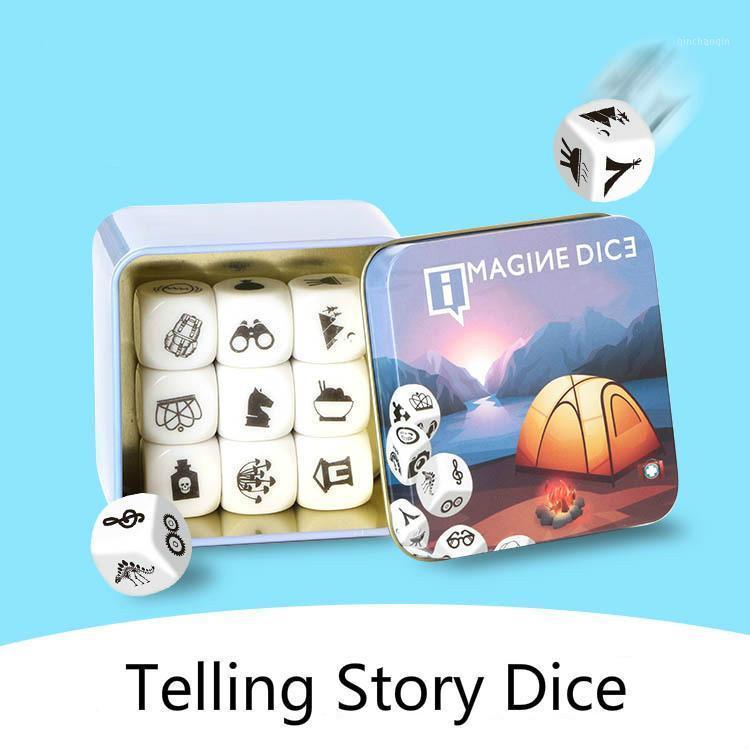 Nouvelle histoire raconter des dés apprentissage jouet boîte en métal / sac français règles famille / parents / fête drôle imaginance jouets pour enfants1
