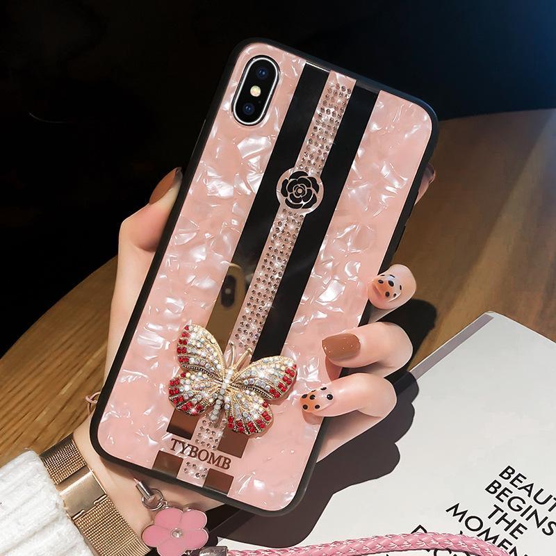 Caja de la mariposa con incrustaciones de la moda del espejo creativo de lujo para iPhone X XR XS 12 Mini 11 Pro Max Funda para iPhone 7 8 6S PLUS VENTA CALIENTE