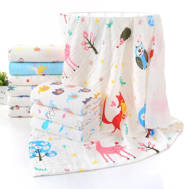 Dibujos animados de algodón puro Alta densidad Blacket Newborn Toallas de baño Verano Edredón para niños Suave Suda, sudor, sudor, manteca de bebé LJ201105