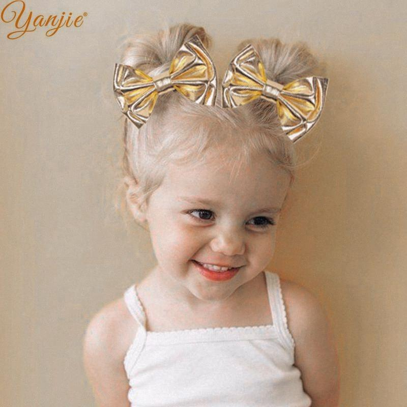 1set Gold Metallic Double Layer Hair Clips For Girls Kids 4'' Glitter Hair Bow For Headbands DIY 2020 Summer Accessories 1s6K#