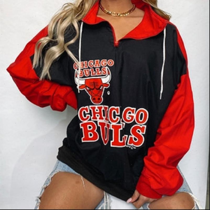 Black Rojo Letter Impresión Deporte Sudadera Casual Sudadera Mujer Vintage Marca Diseño Zip Up Cuello suelto Oversized Moda Girls Plus Tamaño