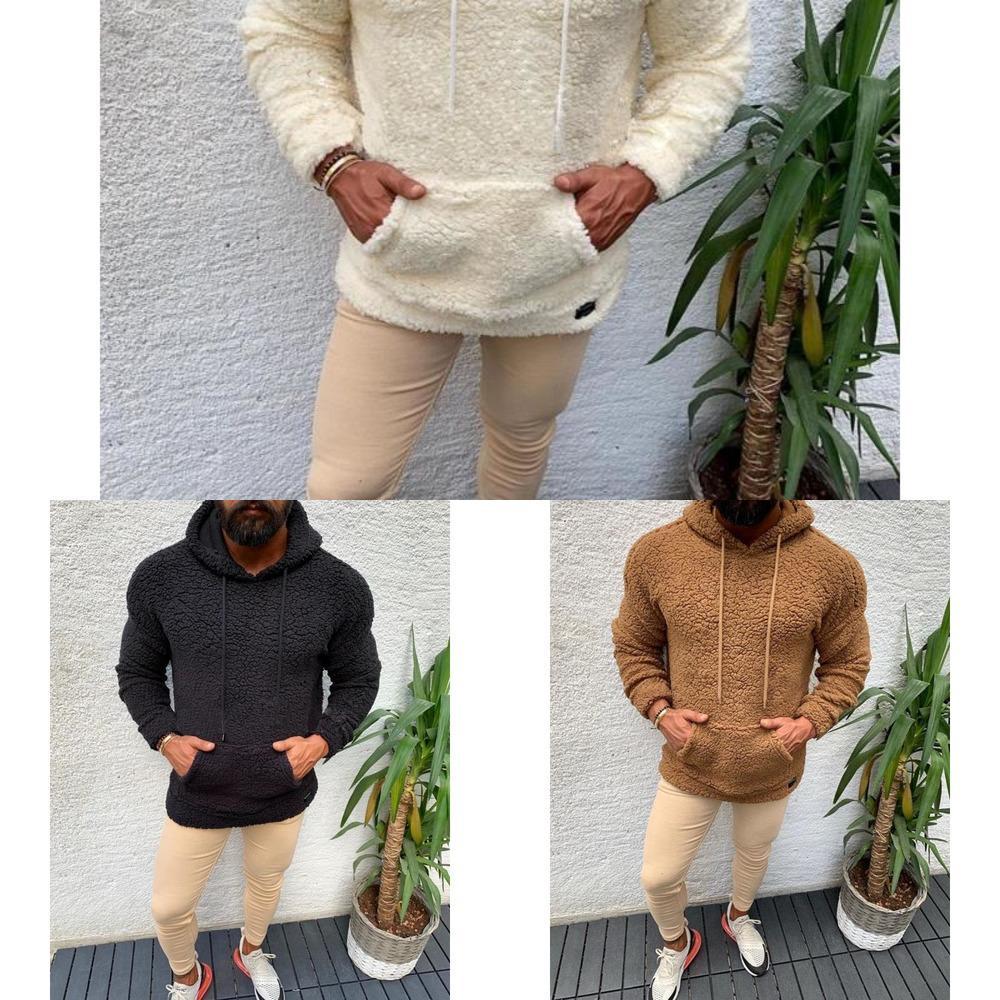 ZITY Autumn Winter Hooded Sherpa Sweatshirt Big Pocket Teddy Fleece Fluffy Pullovers Men's Plus Size Warm Fleece Tops Streetwear Z1211