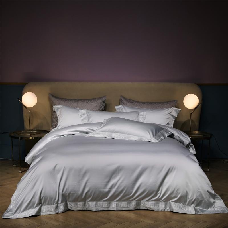 tamaño 43Gray 1000TC algodón egipcio de la reina Rey del lecho del bordado de lujo juego de cama ropa de cama Hoja de cama Sábana ajustable funda nórdica