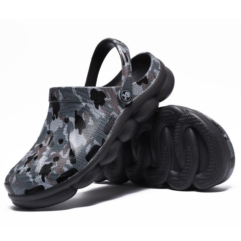 2020 Ücretsiz Kargo Tasarımcı Ayakkabı Erkekler Sandalet erkek Ayakkabı Yaz Rahat Toka Plaj Ayakkabı Kamuflaj Su Yalıtım Slaytları
