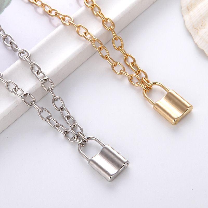 قفل المعادن قلادة قلادة إمرأة رجالي مجوهرات القلائد أزياء الرجعية مطلي الذهب والفضة سلاسل الأصالة شخصية 2cy F2B