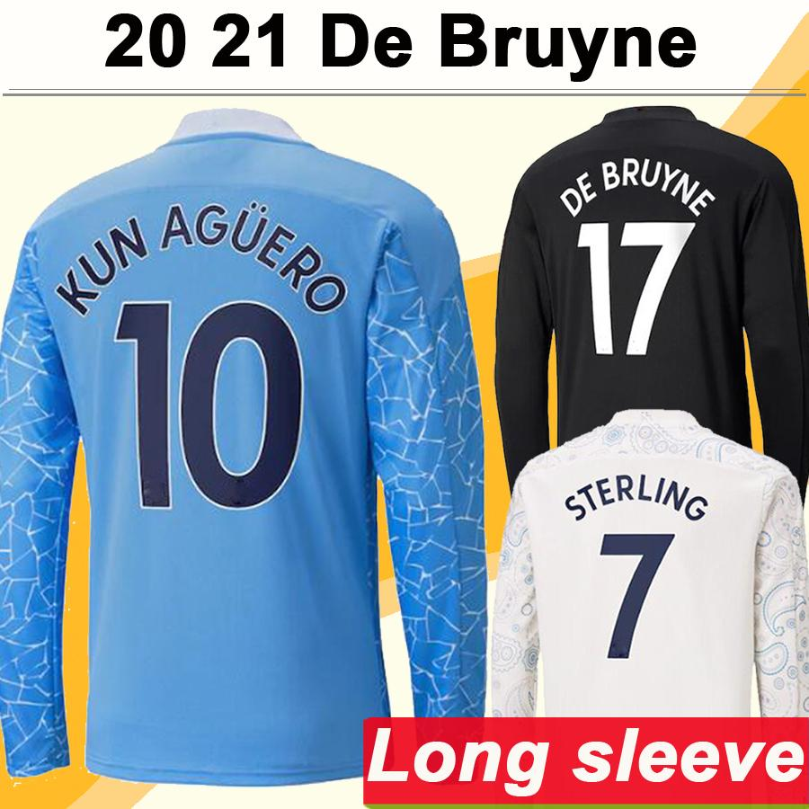 20 21 Kun Aguero de Bruyne 긴 소매 망 축구 유니폼 스털링 홈 블루 멀리 검은 3 그린 축구 셔츠 유니폼