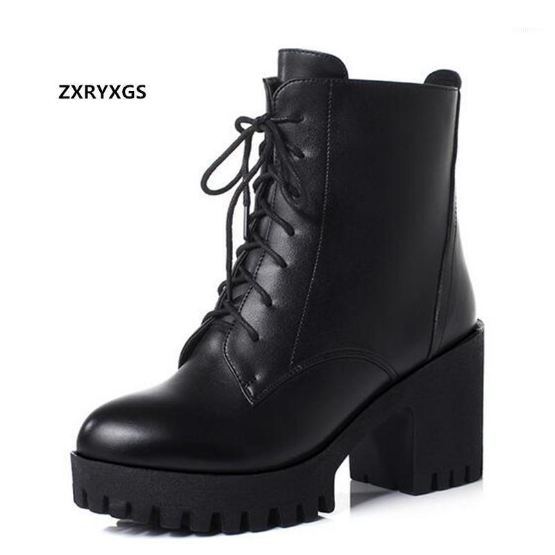 New Autumn Cross Straps Genuine Leather Boots Women Shoes Boots Thick Bottom Non-slip High Heel Shoes Winter Snow1