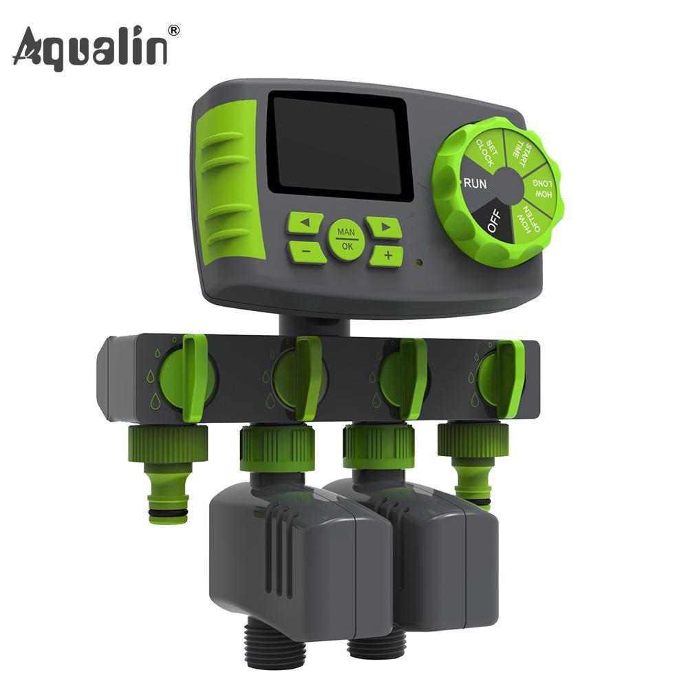 AQUALIN AUTALIN AUTOMÁTICO Sistema de controlador de temporizador de agua de riego de riego automático de 4 zonas con 2 válvulas de solenoide # Q11274 1008