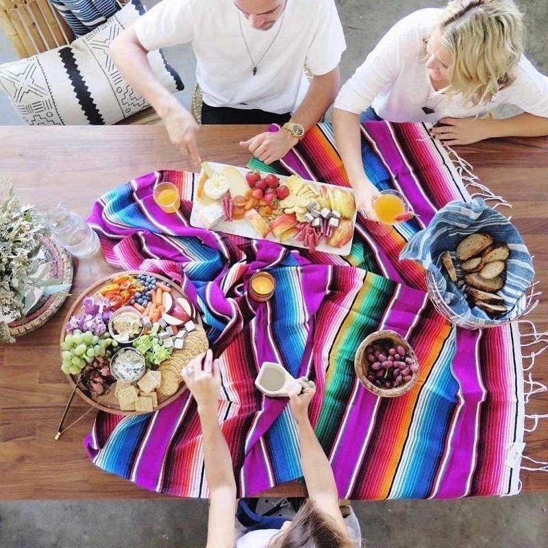 Многофункциональный флаг таблицы этническое ветровое одеяло пляжное полотенце мексиканский стиль пикник ручной работы полосатый одеял кисточек путешествия портативный 20111