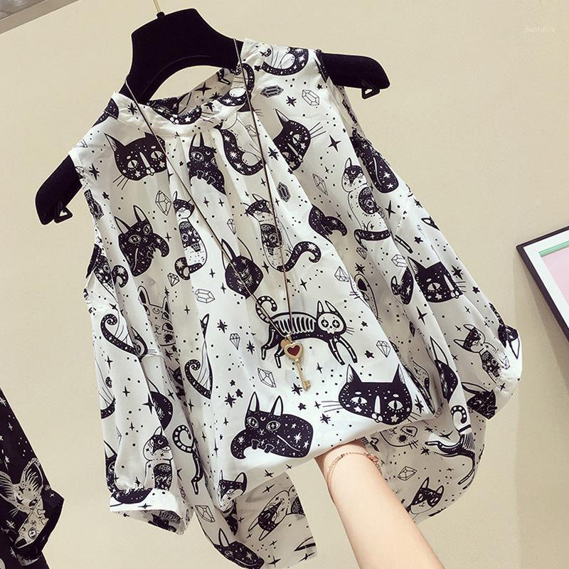 Рубашки женские блузки 2021 летние женщины мода с коротким рукавом с плечом цветочные шифоновые вершины кошек печати свободно случайные блузка1