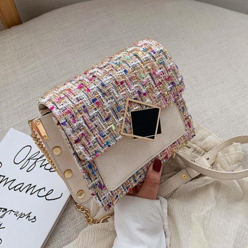 Messenger Winter Nouveau Sac carré Sac Contraste Sac à chaîne en laine de laine Couleur Sac à main Sac à main 2020 Épaule Femme Crossbody Quality Hjnpi