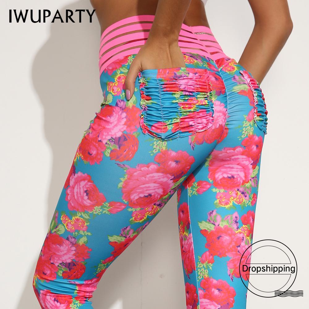 Dropshipping Seksi Çiçek Baskı Tozluklar ile Dantel Kıvrım Pocket Kadınlar Pushup Pantolon Gym Fitness Leggins Mujer Egzersiz Spor 201015
