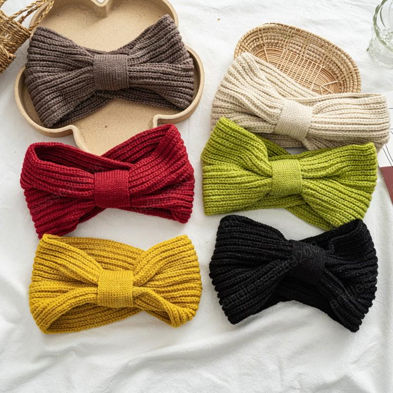 Dulce Invierno de tejer lana diadema sólido torcedura del color del ganchillo amplio espectro Hairbands Mujeres calentador del oído Sombreros Accesorios para el cabello