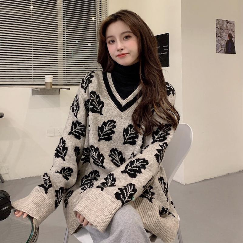 Suéteres de mujer Ropa otoño e invierno desgaste exterior suelto 020 Internet s-cuello jersey retro hong kong estilo