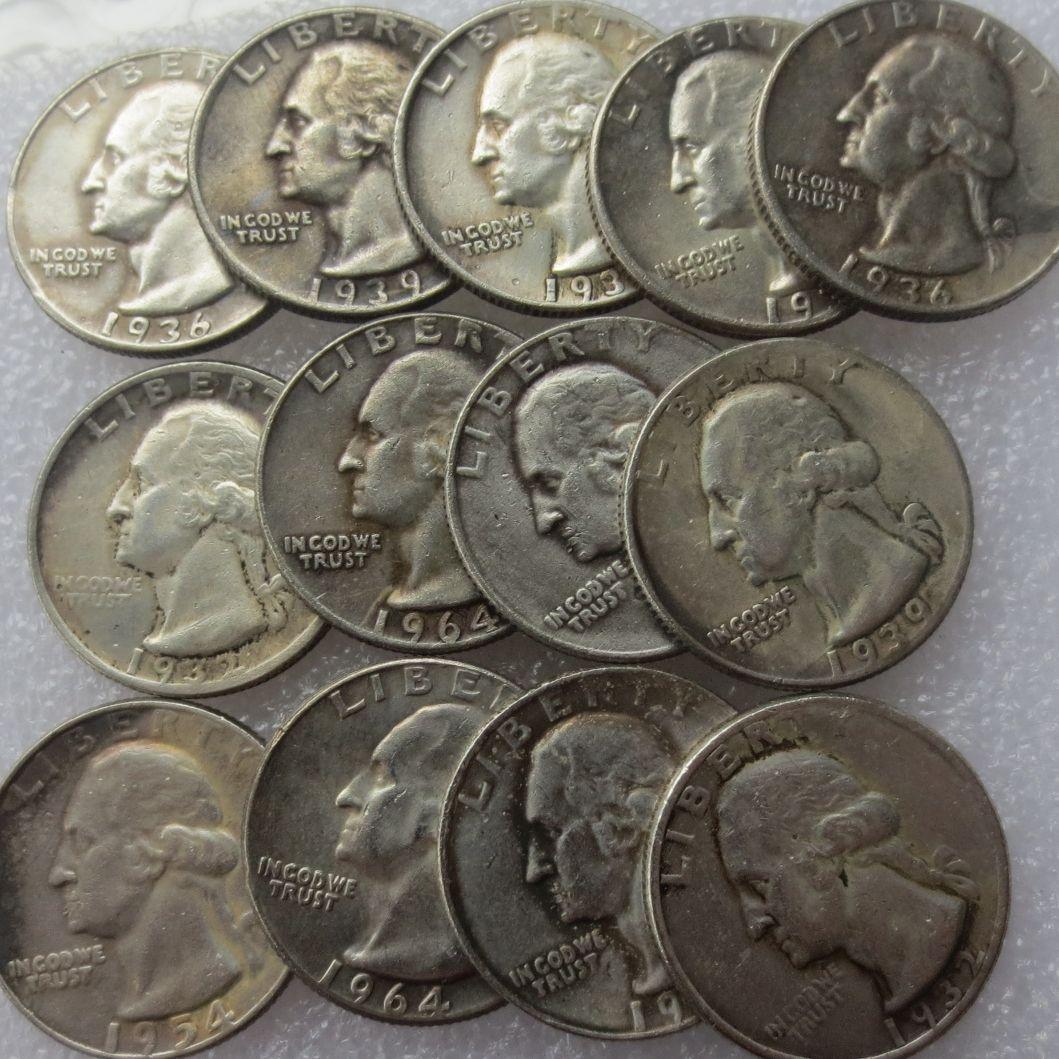US-Münzen Eine Reihe von (1932-1964) -PSD 14pcs Washington-Viertel-Dollar-Kopie schmücken Sie Münze