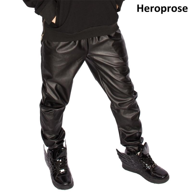 Nouveau Cuir Harem Slim Skinny Hommes Hip Hop Hop Casual Casual Taille de taille 201118