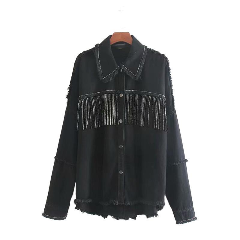 2020 Nueva estación de caída de Thin chaquetas de color Negro con el botón drapeado borla High Street punk fresco de chicas Americanas para mujeres