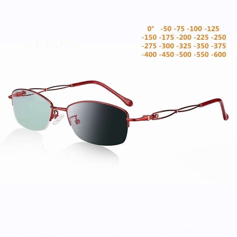 5q9Fq Neue Wohnung Frauen Sonne Farbänderung Myopieobjektiv Alurahmen anti-Strahlung Flachgläser Kurzsichtigkeit Brille fertig