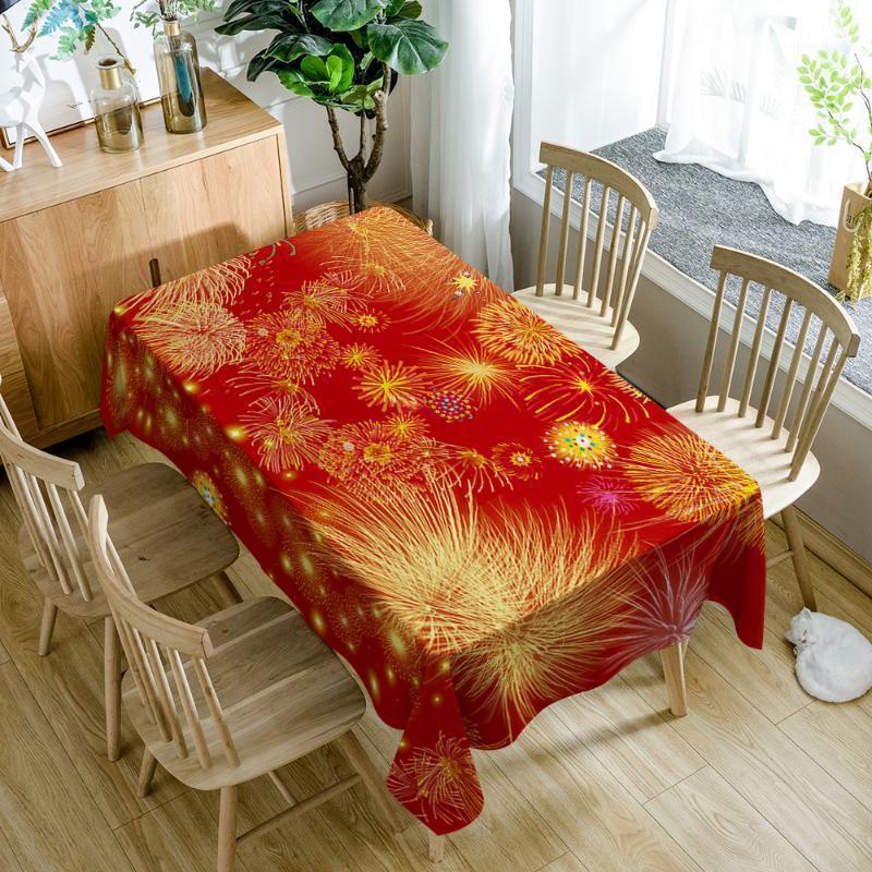 Европа стиль полиэстер 3D скатерть красный фейерверк рождественские печати водонепроницаемый прямоугольник настольный крышка ткань свадебное украшение1