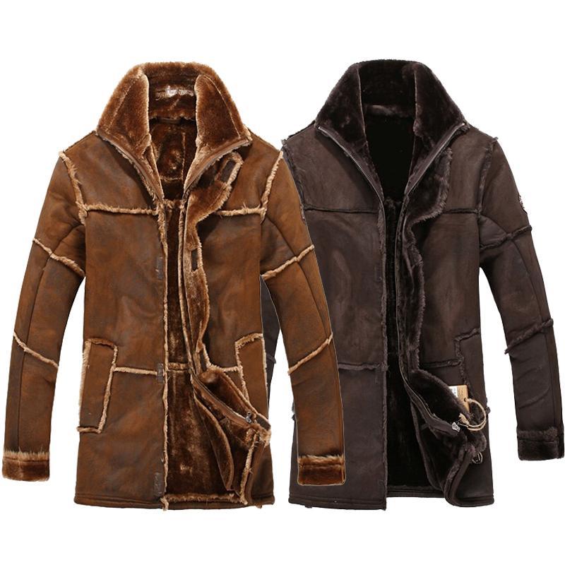 Männliches Art und Weise Retro Vintage Leder und Wildleder-Jacke Lange Faux-Pelz-Mantel-Mann-Winter starker warmer Samt ausgekleidet