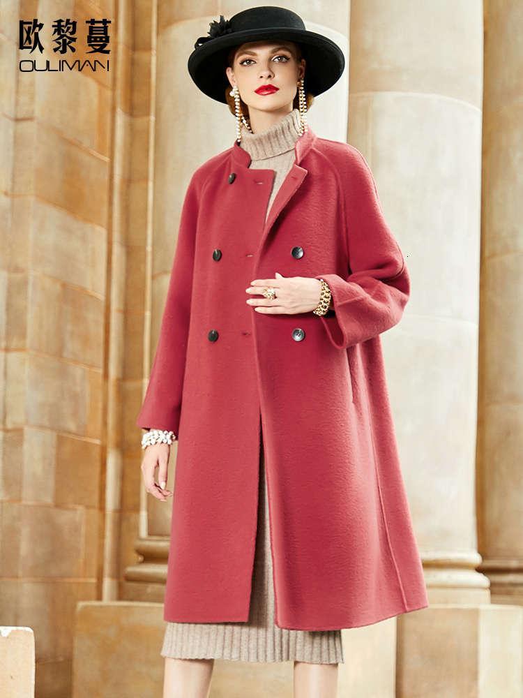 1 vino rosso doppia lato cashmere da donna lungo stile lungo moda nuovo moda cappotto in lana di lana in inverno 20208UY