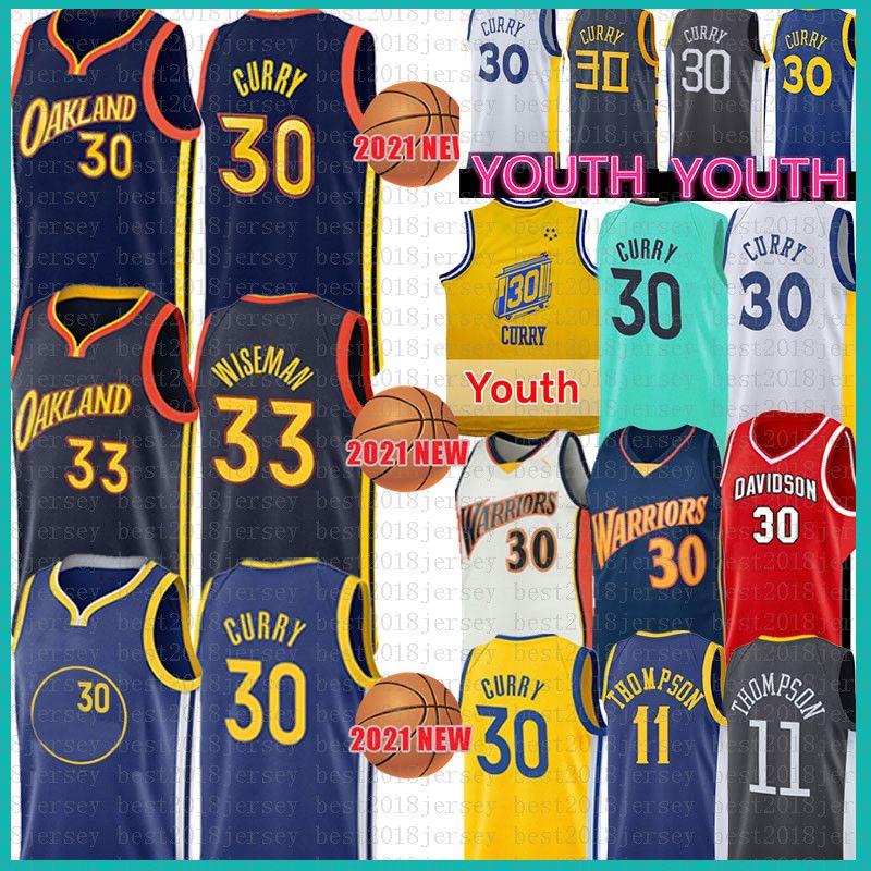 Erkekler gençlik çocuk stephen 30 köri 33 wiseman basketbol forması klay 11 thompson davidson joldcats ncaa kolej formaları