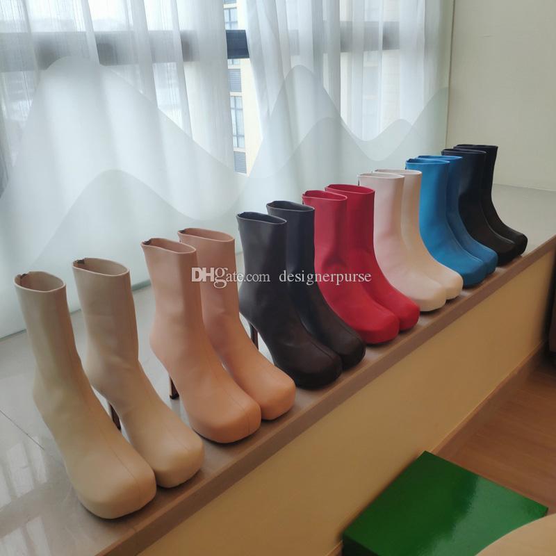 qualidade mulheres altas botas BLOC BOTAS moda de luxo mulheres sapatos saltos estiramento bota de couro tornozelo botas botas mulher do desenhador