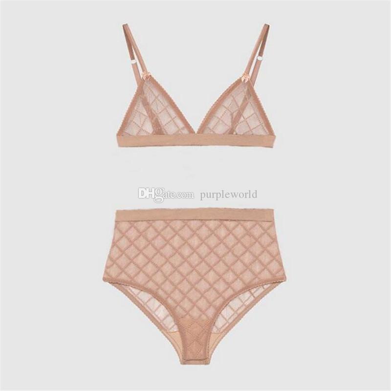 3 Cores Sexy Jacquard Bikini Swimwear Mulheres Lingeries Conjunto de Moda Carta Bordado Lady Sutiã Define o presente de aniversário para roupas íntimas na moda feminina